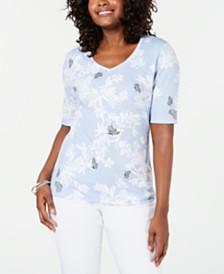 Karen Scott Butterfly-Print T-Shirt, Created for Macy's