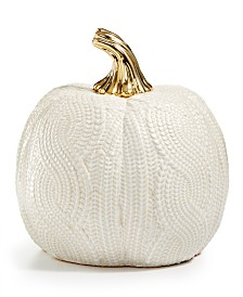 Martha Stewart Collection Harvest Large Ceramic White Pumpkin, Created for Macy's