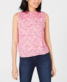 Maison Jules Smocked Ruffled Printed Top, Created for Macy's