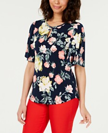 Charter Club Petite Flutter-Sleeve Keyhole Top, Created for Macy's