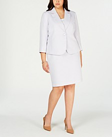 Plus Size Notch-Collar Skirt Suit