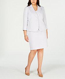 Le Suit Plus Size Notch-Collar Skirt Suit