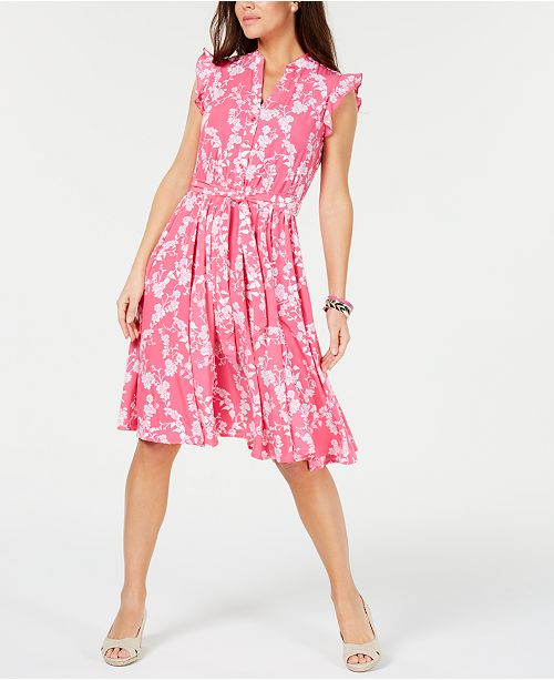 Charter Club Belted Floral-Print Dress, Created for Macy's