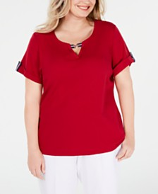 Karen Scott Plus Size Ribbon-Trim Cotton Top, Created for Macy's