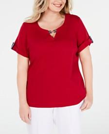 Karen Scott Plus Size Ribbon-Trim Cotton Top, Created for Macy's