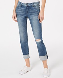 Kut from the Kloth Catherine Boyfriend Wide Cuff Raw Hem Jeans