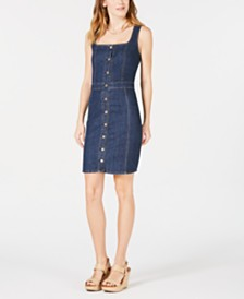 M1858 Corrine Button-Front Denim Dress