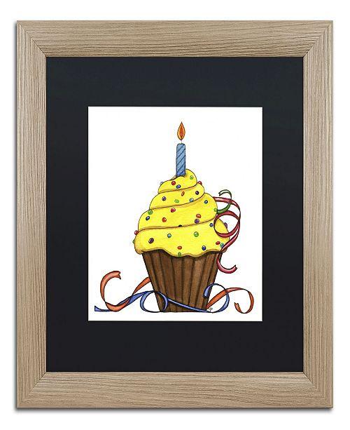 "Trademark Global Jennifer Nilsson Birthday Cupcake Matted Framed Art - 16"" x 20"" x 0.5"""