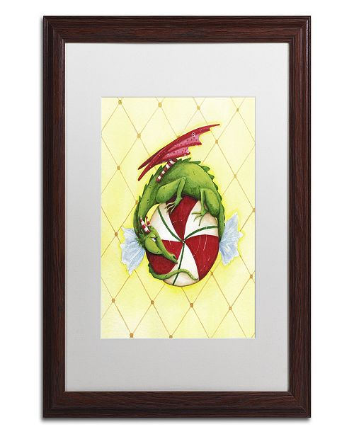 "Trademark Global Jennifer Nilsson Peppermint Twist Dragon Matted Framed Art - 11"" x 14"" x 0.5"""