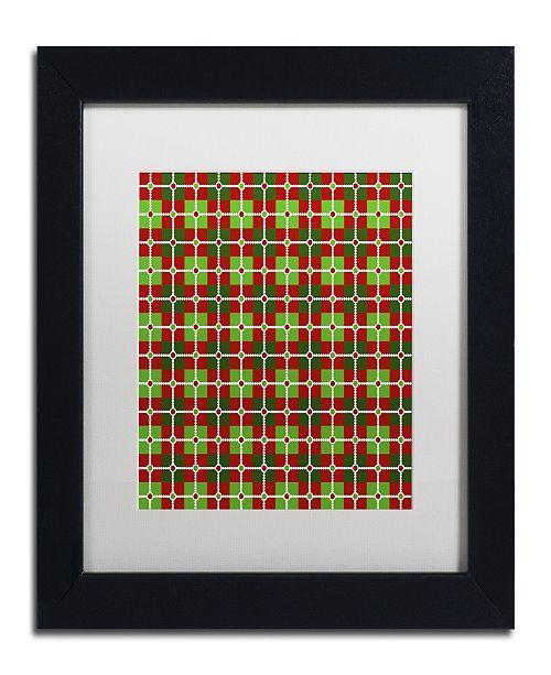 "Trademark Global Jennifer Nilsson Dotted Christmas Plaid 2 Matted Framed Art - 16"" x 16"" x 0.5"""