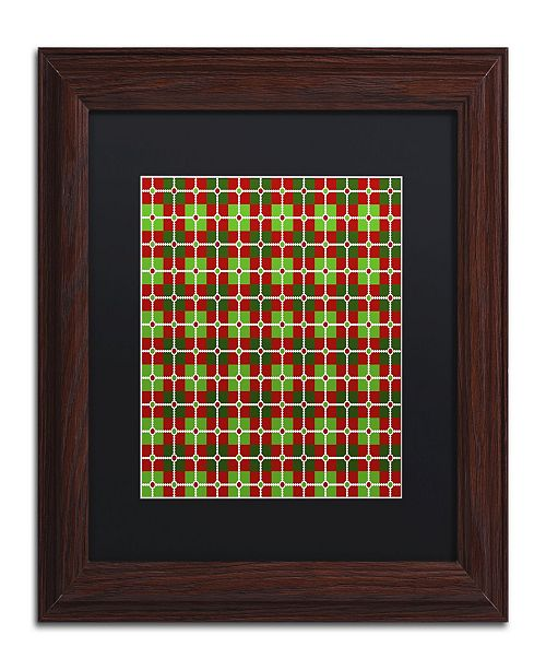 "Trademark Global Jennifer Nilsson Dotted Christmas Plaid 2 Matted Framed Art - 11"" x 11"" x 0.5"""