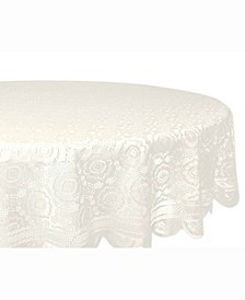 """Vintage Polyester Lace Tablecloth 63"""" Round"""