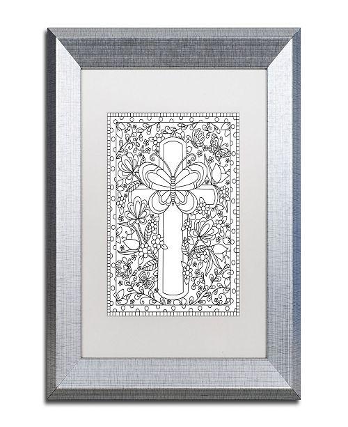 """Trademark Global Jennifer Nilsson Butterfly Garden Cross Matted Framed Art - 11"""" x 14"""" x 0.5"""""""