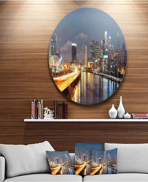 "Design Art Designart 'Philadelphia Skyline At Night' Ultra Glossy Cityscape Circle Wall Art - 38"" x 38"""