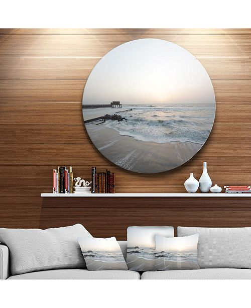 "Design Art Designart 'Serene Blue Beach With White Sun' Beach Metal Circle Wall Art - 23"" x 23"""