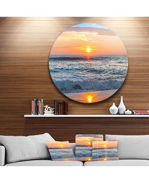 "Design Art Designart 'Beautiful Sunrise Over The Horizon.' Beach Metal Circle Wall Art - 23"" x 23"""