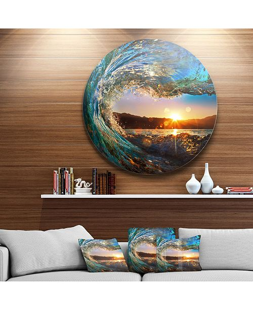 "Design Art Designart 'Colored Ocean Waves Falling Down' Seashore Metal Circle Wall Art - 23"" x 23"""