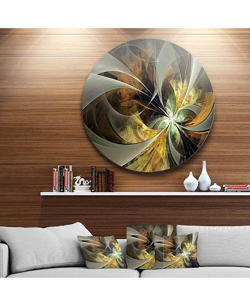 """Design Art Designart 'Symmetrical Gold Fractal Flower' Floral Metal Circle Wall Art - 23"""" x 23"""""""