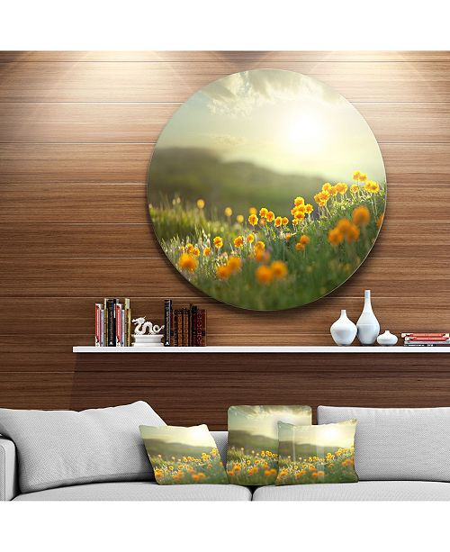 """Design Art Designart 'Yellow Flowers In Meadow At Morning'Floral Metal Circle Wall Art - 23"""" x 23"""""""