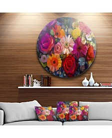 "Designart ''Bouquet Of Rose Daisy And Gerbera' Disc Large Floral Metal Artwork - 23"" x 23"""