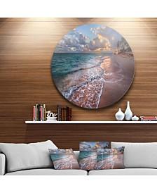 "Designart 'Palm Trees On Clear Sandy Beach' Seashore Metal Circle Wall Art - 38"" x 38"""