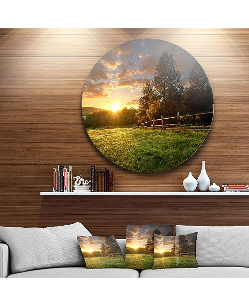 "Design Art Designart 'Fenced Ranch At Sunrise' Landscape Round Circle Metal Wall Art - 23"" x 23"""