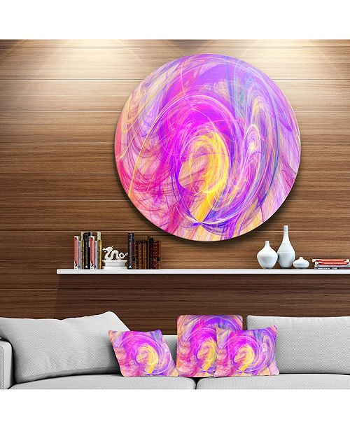 "Design Art Designart 'Purple Mystic Psychedelic Texture' Abstract Art On Round Circle Metal Wall Art Panel - 23"" x 23"""
