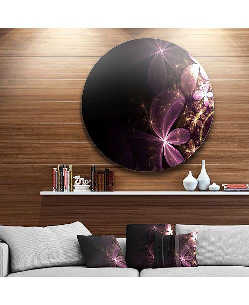 "Design Art Designart 'Purple Shiny Fractal Flowers' Abstract Round Circle Metal Wall Decor Panel - 23"" x 23"""
