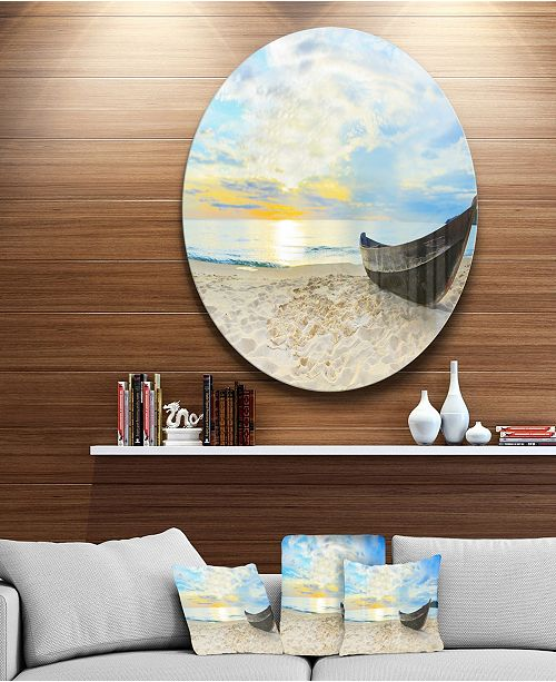 "Design Art Designart 'Calm Beach Panorama' Photography Circle Metal Wall Art - 38"" x 38"""