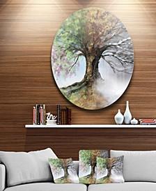 "Designart 'Tree With Four Seasons' Tree Painting Circle Metal Wall Art - 38"" x 38"""
