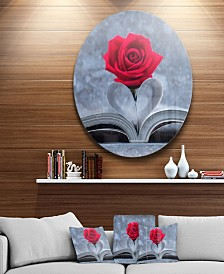 "Designart 'Red Rose Inside The Book' Floral Circle Metal Wall Art - 23"" x 23"""