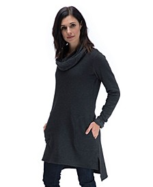 YALA Presley Recycled Plastic Water Bottles and Organic Cotton Cowl Neck Fleece Tunic