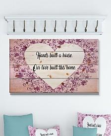 """Design Art 'Hands built a house. Purple Heart' Wood Wall Art - 40"""" x 20"""""""