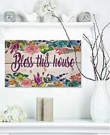 "'Bless this home. Floral' Wood Wall Art - 20"" x 12"""
