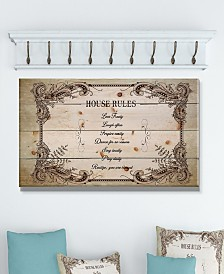 "Design Art 'House Rules. Vintage Frame' Wood Wall Art - 40"" x 20"""