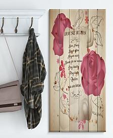 "Design Art 'House rules. Pink Rose Charter' Wood Wall Art - 30"" x 40"""