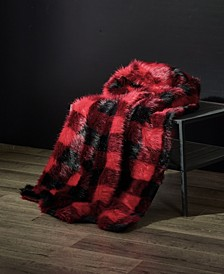 Hudson Buffalo Plaid Fuzzy Faux Fur Throw Blanket
