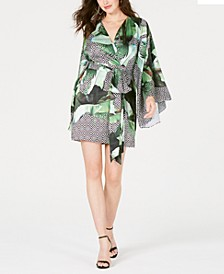 Pansy Printed Faux-Wrap Dress