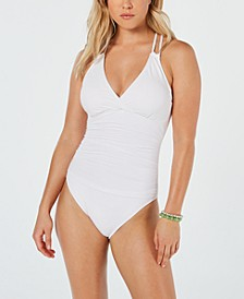 Island Goddess Underwire Tummy Control Cross-Back One-Piece Swimsuit