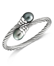 Tahitian Cultured Freshwater Pearl (10mm) Bangle Bracelet in Stainless Steel