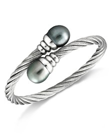 Cultured Tahitian Pearl (10mm) Bangle Bracelet in Stainless Steel