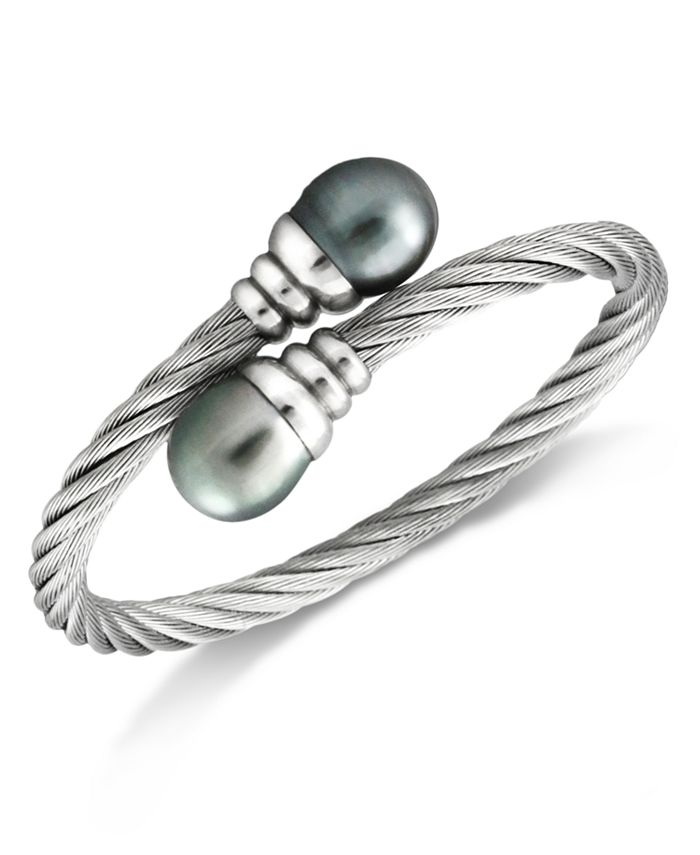 Macy's - Tahitian Cultured Pearl (10mm) Bangle Bracelet in Stainless Steel