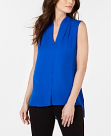 Elie Tahari Pleat-Neck High-Low Silk Top