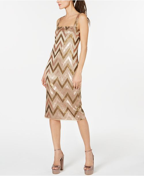 Rachel Zoe Sequined Chevron Sheath Dress