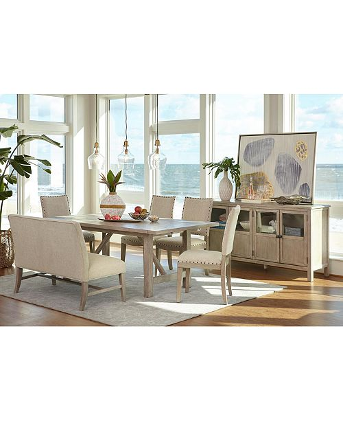 Parker Expandable Dining Furniture, 6-Pc. Set (Table, 4 Side Chairs &  Bench), Created for Macy\'s