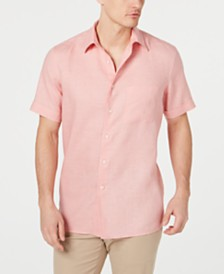 Tasso Elba Men's Cross-Dye Short Sleeve Linen Shirt, Created for Macy's