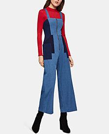 BCBGeneration Cotton Colorblocked Denim Jumpsuit