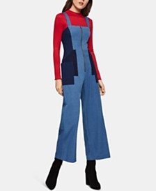 BCBGeneration Cotton Colorblocked Denim Jumpsuit