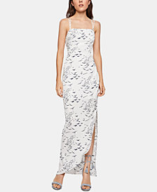 BCBGeneration Printed Asymmetrical-Hem Column Dress
