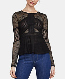BCBGMAXAZRIA Mixed-Lace Peplum Top